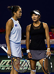 Jing-Jing Lu (R) and Shuai Zhang (L) of China talk during the doubles Round Robin match of the WTA Elite Trophy Zhuhai 2017 against Alicja Rosolska of Poland and Anna Smith of Great Britain / Jing-Jing Lu and Shuai Zhang of China at Hengqin Tennis Center on November  01, 2017 in Zhuhai, China.Photo by Yu Chun Christopher Wong / Power Sport Images
