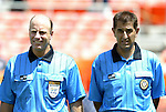 31 August 2004: Fourth official Brian Hall (left) and referee Esse Baharmast (right). The MLS USA Legends and MLS World Legends tied 2-2 at RFK Stadium in Washington, DC in the Major League Soccer Sierra Mist Celebration Game honoring the 10th anniversary of the FIFA World Cup 94 held in the United States. The game featured current and former MLS players that participated in the 1994 World Cup and World Cup Qualifying, and it was held prior to the 2004 MLS All-Star game..