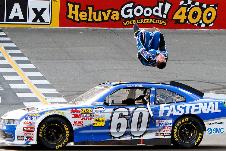 18 June, 2011: Carl Edwards celebrates with his traditional backflip after winning the Alliance Truck Parts 250 at Michigan International Speedway in Brooklyn, Michigan. (Photo by Jeff Speer :: SpeerPhoto.com)