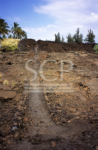 Big Island, Hawaii. Historic Kings Trail as it passes through petroglyph site at Waikoloa Resort.