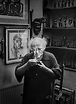 Josef Herman in his studio,<br /> London.<br /> <br /> Josef Herman (1911-2000), also known in Wales as 'Joe Bach' (little Joe), was a highly regarded Polish-British realist painter who influenced contemporary art, particularly in the United Kingdom. <br /> <br /> His work often had subjects of workers and was inherently political. He was among more than a generation of eastern European Jewish artists who emigrated to escape persecution and worked abroad.<br /> <br /> For eleven years he lived in South Wales and will be probably best remembered for his renderings of Welsh miners.<br /> <br /> He created an extensive collection of African sculpture and his figure style was to some extent based on it.