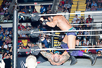 WWE Champion Jinder Mahal (top) fights against Randy Orton at a WWE Live Summerslam Heatwave Tour event at the MassMutual Center in Springfield, Massachusetts, USA, on Mon., Aug. 14, 2017. Mahal lost the match.