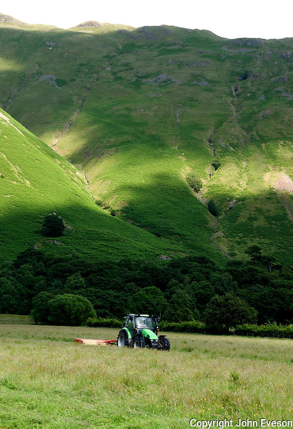 Mowing grass,Patterdale, Cumbria, Lake District.....Copyright..John Eveson, Dinkling Green Farm, Whitewell, Clitheroe, Lancashire. BB7 3BN.01995 61280. 07973 482705.j.r.eveson@btinternet.com.www.johneveson.com