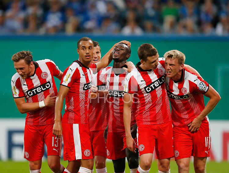 Rostock, Germany, DFB Pokal  Herren,  1.Runde  <br /> FC Hansa Rostock - Fortuna Duesseldorf  0-320. 08. 2016 Ostseestadion in Rostock<br /> Ihlas BEBOU (F95) 3.v. - erzielte per Kopf das 3-0 and freut sich and Adam BODZEK (F95) , Jerome KIESEWETTER (F95), Marcel SOBOTTKA (F95)  and Axel BELLINGHAUSEN (F95) v.n.-<br /> <br />  .<br /> .