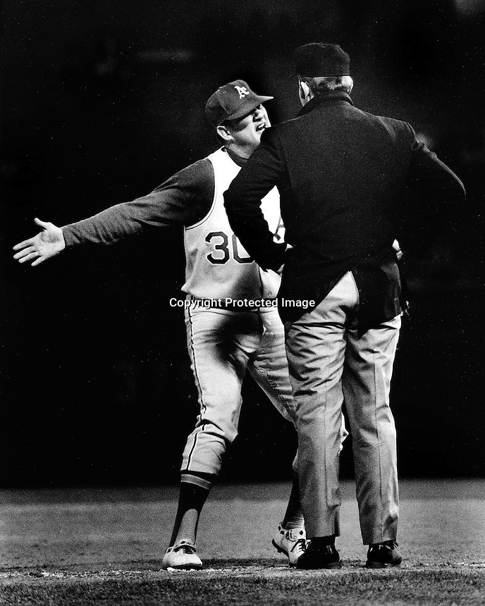 A's Don Mincher pleads with Ump. (1971 Photo by Ron Riesterer)