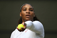 Serena Williams (USA) during her victory against Evgeniya Rodina (RUS) in their Ladies' Singles Fourth Round match<br /> <br /> Photographer Rob Newell/CameraSport<br /> <br /> Wimbledon Lawn Tennis Championships - Day 7 - Monday 9th July 2018 -  All England Lawn Tennis and Croquet Club - Wimbledon - London - England<br /> <br /> World Copyright &copy; 2017 CameraSport. All rights reserved. 43 Linden Ave. Countesthorpe. Leicester. England. LE8 5PG - Tel: +44 (0) 116 277 4147 - admin@camerasport.com - www.camerasport.com