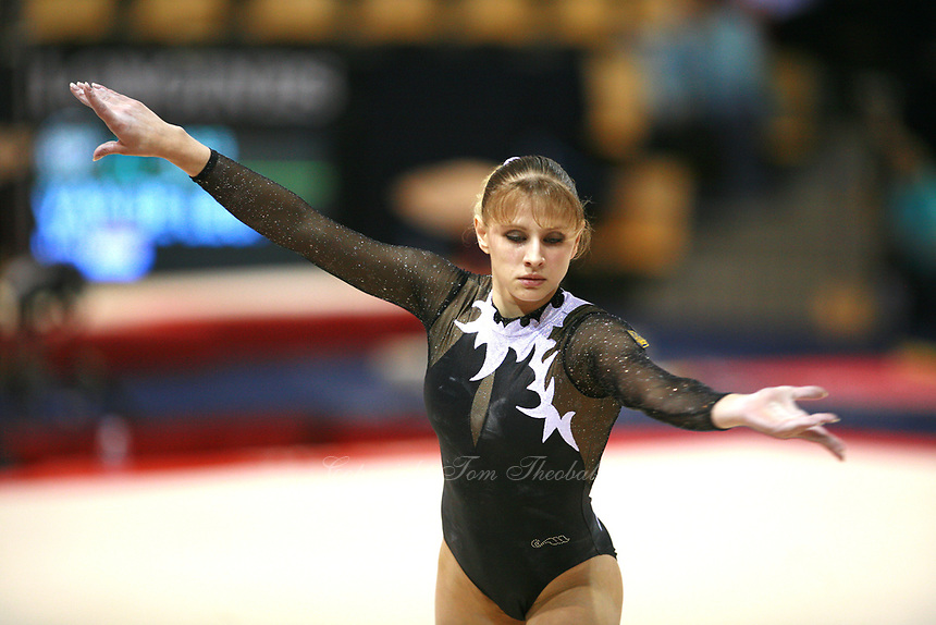 Oct 17, 2006; Aarhus, Denmark;  Alina Kozich of Ukraine performs on floor exercise during women's gymnastics team competition at 2006 World Championships Artistic Gymnastics.