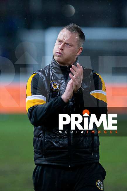 Newport County manager Michael Flynn claps the fans at full time of the FA Cup 4th round replay match between Newport County and Middlesbrough at Rodney Parade, Newport, Wales on 5 February 2019. Photo by Mark  Hawkins / PRiME Media Images.
