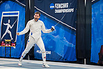 UNIVERSITY PARK, PA - MARCH 25: Marc Blais-Antoine of Ohio State University reacts after defeating Ariel Simmons of Notre Dame University in the semifinals of the epee saber competition during the Division I Men's Fencing Championship held at the Multi-Sport Facility on the Penn State University campus on March 25, 2018 in University Park, Pennsylvania. (Photo by Doug Stroud/NCAA Photos via Getty Images)