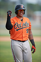 Baltimore Orioles Jean Carrillo (95) during a Minor League Spring Training game against the Boston Red Sox on March 20, 2018 at Buck O'Neil Complex in Sarasota, Florida.  (Mike Janes/Four Seam Images)