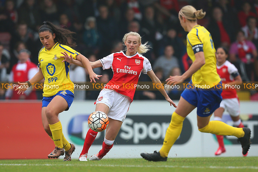 Chloe Kelly of Arsenal and Mayumi Pacheco of Doncaster during Arsenal Ladies vs Doncaster Rovers Belles, FA Women's Super League FA WSL1 Football at Meadow Park, Boreham Wood FC on 30th October 2016