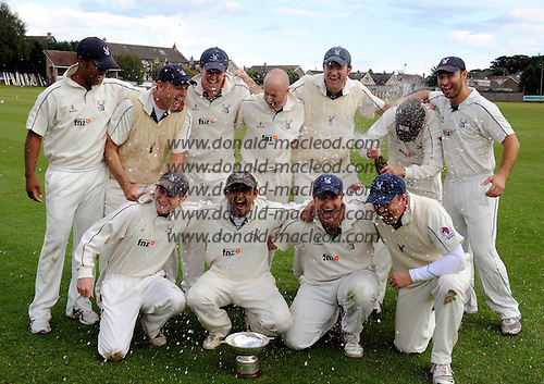 Scottish National Cricket League, Premier Div - Forfarshire V Grange at Forthill, Dundee - that champagne moment for Grange Capt Sanjay Patel (centre left) and team-mates celebrate their 2010 league victory in a traditional manner. Grange chased down the Forfs paltry 90 total in 11.2 overs - Picture by Donald MacLeod - mobile 07702 319 738 - clanmacleod@btinternet.com - words if required from William Dick 077707 839 23