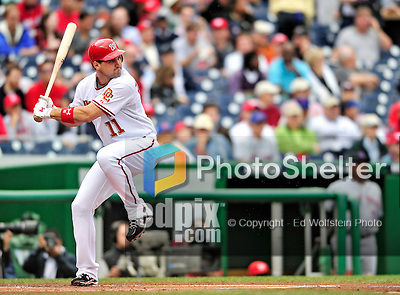 30 September 2009: Washington Nationals' third baseman Ryan Zimmerman in action against the New York Mets at Nationals Park in Washington, DC. The Nationals rallied in the bottom of the 9th inning on a Justin Maxwell walk-off Grand Slam to win 7-4 and sweep the Mets 3-game series capping the Nationals' 2009 home season. Mandatory Credit: Ed Wolfstein Photo
