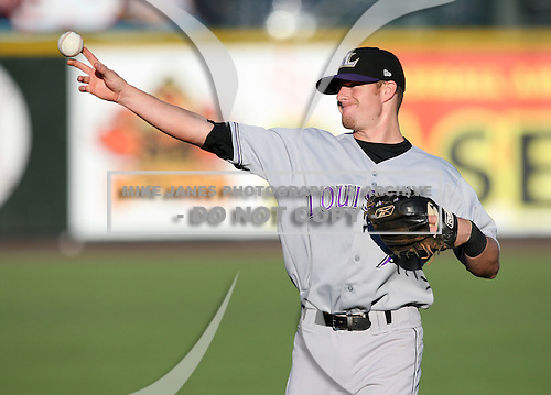 Louisville Bats Shortstop Zack Cosart (7) during a game vs. the Rochester Red Wings Friday, May 14, 2010 at Frontier Field in Rochester, New York.   Rochester defeated Louisville by the score of 13-4.  Photo By Mike Janes/Four Seam Images