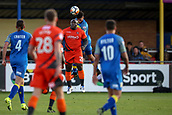 5th November 2017, Damson Park, Solihull, England; FA Cup first round, Solihull Moors versus Wycombe Wanderers; Adebayo Akinfenwa of Wycombe Wanderers doesn't quite get to the height of the ball
