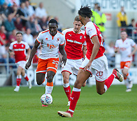 Blackpool's Daniel Agyei runs at Rotherham United's Michael Ihiekwe<br /> <br /> Photographer Alex Dodd/CameraSport<br /> <br /> The EFL Sky Bet League One - Rotherham United v Blackpool - Saturday 5th May 2018 - New York Stadium - Rotherham<br /> <br /> World Copyright &copy; 2018 CameraSport. All rights reserved. 43 Linden Ave. Countesthorpe. Leicester. England. LE8 5PG - Tel: +44 (0) 116 277 4147 - admin@camerasport.com - www.camerasport.com