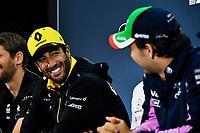 14th November 2019, Autodromo Jose Carlos,Pace, Sao Paolo, Brazil; F1 Grand Prix of Brazil, Driver arrival and Press conference;  Daniel Ricciardo, Renault F1 Team and Sergio Perez, Racing Point In the press conference