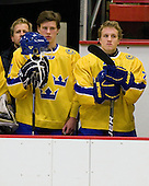 ?, Henric Andersen (Sweden - 10), Oscar Fantenberg (Sweden - 2) - Sweden's Under-20 team defeated the Harvard University Crimson 2-1 on Monday, November 1, 2010, at Bright Hockey Center in Cambridge, Massachusetts.