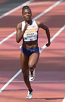 Dina Asher-Smith of GBR on her way to makeing a new British 200m record during the Sainsbury's Anniversary Games, Athletics event at the Olympic Park, London, England on 25 July 2015. Photo by Andy Rowland.
