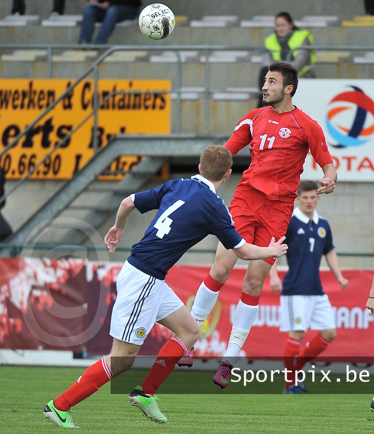 Scotland U19 - Georgia U19 : Nika Kacharava with the header (11).foto DAVID CATRY / Nikonpro.be