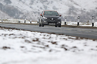 Pictured: A car travels on the A470 road in Storey Arms, Brecon Beacons, Wales, UK.<br /> Re: The Beast from the East wind has been affecting most parts of the UK with areas reaching temperatures below zero.