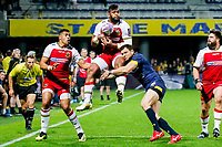 Taqele Naiyaravoro of Northampton and Remi Grosso of Clermont during the European Challenge Cup match between Clermont Ferrand and Northampton Saints at Stade Marcel Michelin on March 31, 2019 in Clermont-Ferrand, France. (Photo by Romain Biard/Icon Sport)