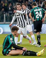 Esultanza dopo il gol di Carlos Tevez Juventus, Goal Celebration, Torino 15-12-2013, Juventus Stadium, Football Calcio 2013/2014 Serie A, Juventus - Sassuolo, Foto Marco Bertorello/Insidefoto