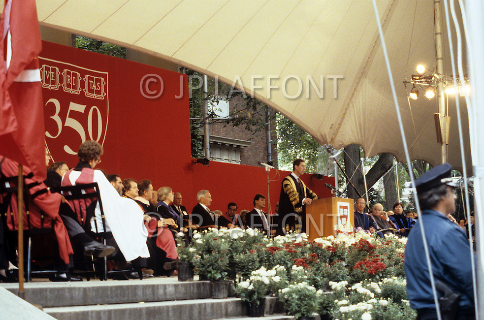 Cambridge, MA, September 7 1986. 350th anniversary celebration at Harvard University. Prince Charles of Wales, is the main speaker at the symposium for the Foundation Day. - Harvard University, established in 1636, is the oldest institution of higher learning in the United States. Harvard's history, influence, and wealth have made it one of the most prestigious universities in the world.
