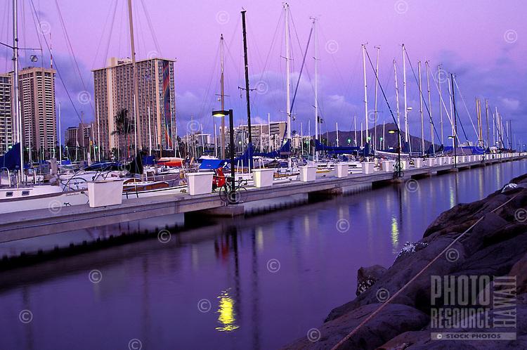 Evening view of the ala wai yacht harbor near diamond head