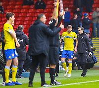 Leeds United's Liam Cooper limps off the field after sustaining an injury<br /> <br /> Photographer Alex Dodd/CameraSport<br /> <br /> The EFL Sky Bet Championship - Sheffield United v Leeds United - Saturday 1st December 2018 - Bramall Lane - Sheffield<br /> <br /> World Copyright &copy; 2018 CameraSport. All rights reserved. 43 Linden Ave. Countesthorpe. Leicester. England. LE8 5PG - Tel: +44 (0) 116 277 4147 - admin@camerasport.com - www.camerasport.com