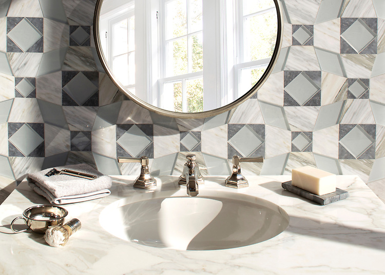 Estrella, a hand-cut mosaic, shown in polished Allure, polished Cirrus, and Island Fog, is part of the Miraflores collection by Paul Schatz for New Ravenna.