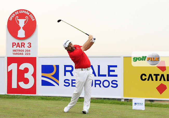 Damien McGrane (IRL) on the 13th tee during Round 1 of the Open de Espana  in Club de Golf el Prat, Barcelona on Thursday 14th May 2015.<br /> Picture:  Thos Caffrey / www.golffile.ie