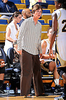 11 November 2011:  FIU Women's Basketball Head Coach Cindy Russo reacts to a call during the first half as the FIU Golden Panthers defeated the Jacksonville University Dolphins, 63-37, at the U.S. Century Bank Arena in Miami, Florida.