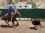 James Clark competes in the double mugging event at the Minden Ranch Rodeo in Gardnerville, Nev., on Sunday, July 22, 2012..Photo by Cathleen Allison