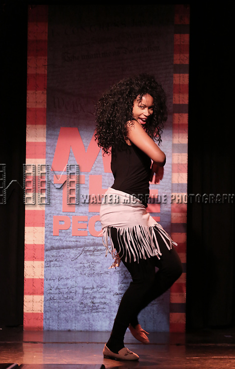 Aiesha Dukes performs onstage during the 'ME THE PEOPLE: The Trump America Musical' Press Preview Presentation at The Triad Theater on June 21, 2017 in New York City.
