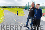 Michael O'Connell and Cian McGinley on the new walkway at the John Mitchels GAA Complex on Monday