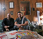 ".Tony ""Ham"" Guerrero and his son Alfredo Guerrero of the Tortilla Factory jazz group is nominated for a grammy this year despite Tony's need for a kidney transplant. Photographed at his home in Austin, Texas on February 2, 2009..Photo by Ben Sklar"