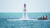 Flyboarding on Gulf of Mexico at Captiva Island, Florida, USA, April 12, 2004. Photo/debi pittman wilkey