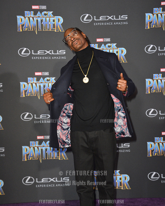 Snoop Dogg at the world premiere for &quot;Black Panther&quot; at the Dolby Theatre, Hollywood, USA 29 Jan. 2018<br /> Picture: Paul Smith/Featureflash/SilverHub 0208 004 5359 sales@silverhubmedia.com