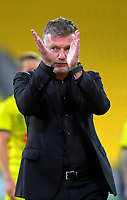 Phoenix coach Ufuk Talay after the A-League football match between Wellington Phoenix and Melbourne Victory FC at Sky Stadium in Wellington, New Zealand on Sunday, 15 March 2020. Photo: Dave Lintott / lintottphoto.co.nz