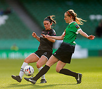 3rd November 2019; Aviva Stadium, Dublin, Leinster, Ireland; FAI Cup Womens Final Football, Peamount United versus Wexford Youth Womens Football Club; Aisling Frawley of Wexford Youths and Claire Walsh of Peamount United challenge for the ball - Editorial Use