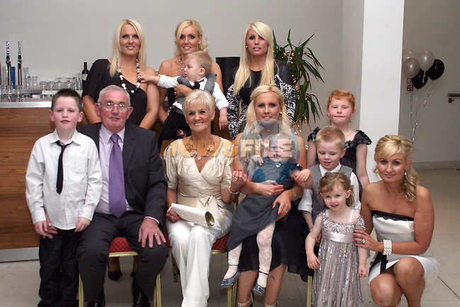 Catherine and George Dodrill celebrate their 40th Wedding Anniversary in the D Hotel.  Pictured here with their daughters, Emer, Fiona, Georgina, Niamh and Gemma and their grandchildren...Photo NEWSFILE/Jenny Matthews.(Photo credit should read Jenny Matthews/NEWSFILE)....This Picture has been sent you under the condtions enclosed by:.Newsfile Ltd..The Studio,.Millmount Abbey,.Drogheda,.Co Meath..Ireland..Tel: +353(0)41-9871240.Fax: +353(0)41-9871260.GSM: +353(0)86-2500958.email: pictures@newsfile.ie.www.newsfile.ie.FTP: 193.120.102.198.