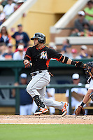 Miami Marlins catcher Jhonatan Solano (8) during a Spring Training game against the Detroit Tigers on March 25, 2015 at Joker Marchant Stadium in Lakeland, Florida.  Detroit defeated Miami 8-4.  (Mike Janes/Four Seam Images)
