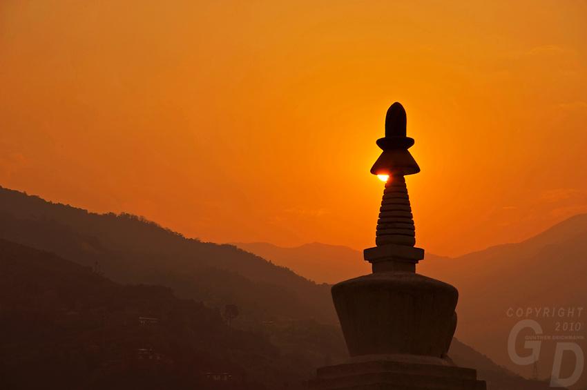 Sunset over a stupa near Trongsa to Thimphu,Bhutan.