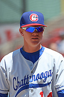 Anthony Hatch #14 of the Chattanooga Lookouts before a game against the Carolina Mudcats on May 9, 2010 in Zebulon, NC.
