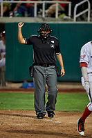 Home plate umpire Edgar Morales calls the game at Home of the Owlz on September 11, 2017 in Orem, Utah. The Ogden Raptors played the Orem Owlz for the south division title. Ogden defeated Orem 7-3 to win the South Division Championship. (Stephen Smith/Four Seam Images)