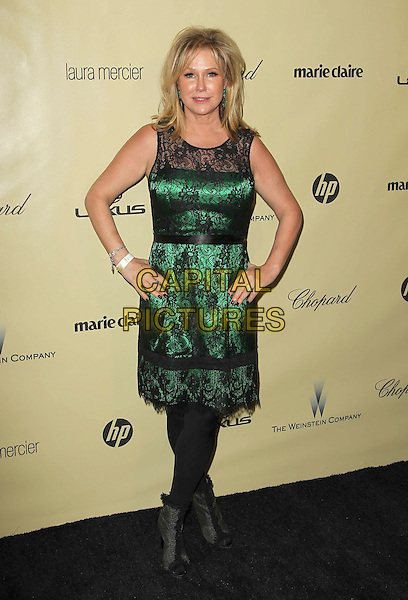 Kathy Hilton.The Weinstein Company's 2013 Golden Globe After Party held at The Old trader vic's at The Beverly Hilton Hotel in Beverly Hills, California, USA..January 13th, 2013.globes full length black green sleeveless lace dress hands on hips tights ankle boots .CAP/ADM/KB.©Kevan Brooks/AdMedia/Capital Pictures.