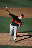Jordan Johnson (34) of the San Jose Giants pitches during a game against the Rancho Cucamonga Quakes at LoanMart Field on August 30, 2015 in Rancho Cucamonga, California. Rancho Cucamonga defeated San Jose, 8-3. (Larry Goren/Four Seam Images)