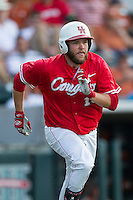 Houston Cougars first baseman Casey Grayson (18) runs to first base during the NCAA baseball game against the Texas Longhorns on June 6, 2014 at UFCU Disch–Falk Field in Austin, Texas. The Longhorns defeated the Cougars 4-2 in Game 1 of the NCAA Super Regional. (Andrew Woolley/Four Seam Images)