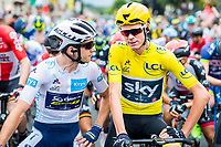 Picture by Alex Whitehead/SWpix.com - 11/07/2017 - Cycling - Le Tour de France - Stage 11, Eymet to Pau - Chris Froome of Team Sky and Simon Yates of Orica Scott chat on the start line.